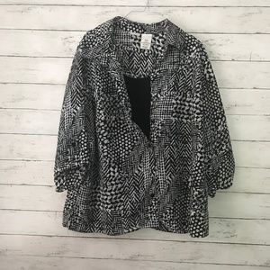 Just My Size Black & White Blouse - Size XXL